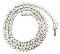 Other 18k,3-prong,Round,Cut,Diamond,Graduated,Riviera,Necklace,Solid,White,Gold,10.46c