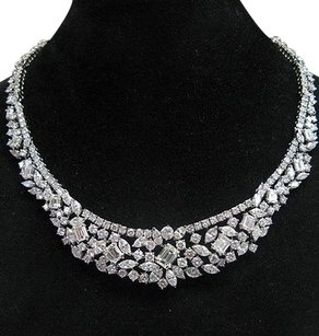 Other 18kt,Multi,Shape,Diamond,Tennis,Graduated,Necklace,Wg,35.26ct