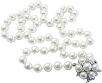 Fine,Cultured,Pearl,Diamond,White,Gold,Necklace,7.6mm-8mm,.30ct,20