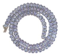 Fine,Gem,Tanzanite,Oval,Shape,White,Gold,Riviera,Necklace,40.26ct,17