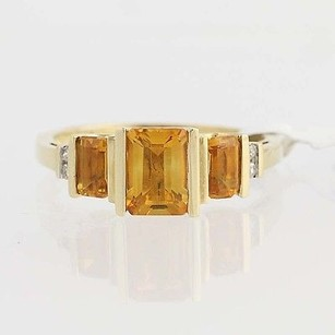 Citrine Diamond Ring - 14k Yellow Gold November Birthstone 1.32ctw