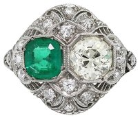 Vintage Platinum Old European Cut Diamond And Emerald Ring
