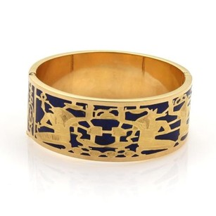 Vintage Lapis Lazuli Inlay 18k Yellow Gold Egyptian Deities Wide Band Bracelet