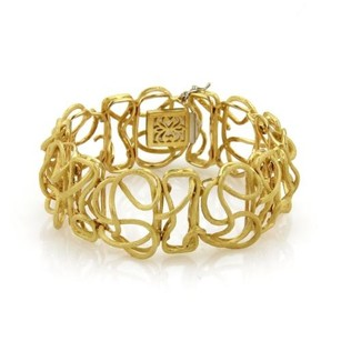 Vintage 18k Yellow Gold Wire Curly Woven Design Textured Bracelet