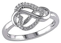Sterling Silver 110 Ct Diamond Heart Crossover Infinity Journey Ring Gh I3
