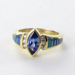 Kabana Ring 0.10cts Diamonds Blue Tanzanite Opals 14k Y Gold