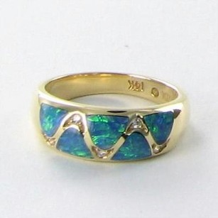 Kabana Ring Tapered Band 0.05cts Diamonds Opals 14k Y Gold