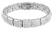 Kite Link Design Bracelet Mens Simulated Diamonds White Rhodium Finish Mens Sale