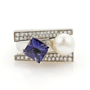 Koesia 2.42ct Iolite Pearl Diamond 18k White Gold Ring- 6.75