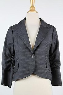 La Rok Womens Gray White Printed Blazer 34 Sleeve Wool Trousers