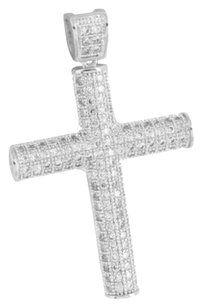 Lab Diamond Cross Pendant Mens Fully Iced Out 14k White Gold Finish Rapper Wear