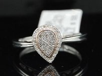 Ladies 10k Rose White Gold Pave Diamond Tear Drop Ring