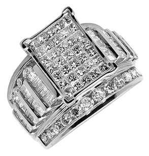 Ladies 10k White Gold Baguette Princess Cut Real Diamond Engagement Ring 3.0ct