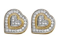 Ladies 10k Yellow Gold Puff Heart Genuine Diamonds Earring Studs .25ct 11mmx10mm