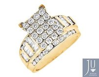 Other Ladies 10k Yellow Gold Round Baguette Cut Engagement Wedding Diamond Ring 2.0ct