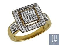 Other Ladies 10k Yellow Gold Square Frame Real Diamond Statement Wedding Ring 0.51ct