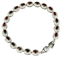 Ladies 14k White Gold Finish Simulated Ruby Lab Diamond Sterling Silver Bracelet