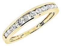 Ladies 14k Yellow Gold 1 Row Invisible Set Real Diamond Wedding Ring Band 0.50ct