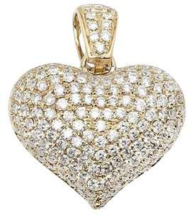 Ladies 14k Yellow Gold Puff Iced Real Vs Diamond Heart Pendant Charm 2.50ct 1.0