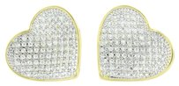 Ladies Heart Earrings Gold Finish Simulated Cz Stones Micro Pave Mm Womens