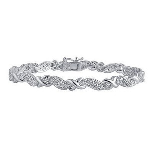 Ladies Natural Diamond Xo Tennis Bracelet Inwhite Gold Finish 0.25ct