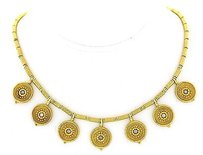Ladies Vintage Castellani 18k Yellow Gold And Diamond Necklace