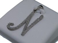 Ladies White Gold Diamond Initial Letter N Script