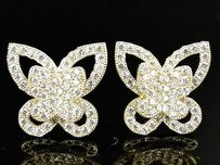 Ladies Womens 10k Solid Yellow Gold Simulated Diamond Butterfly Earrings