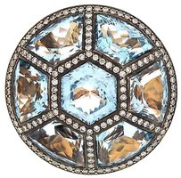 Ladies Zorab 18k Rose Gold Blue Topaz And Diamonds Ring
