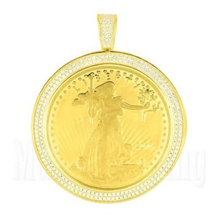Lady Liberty Coin Pendant 14k Yellow Gold Finish Lab Diamond Charm In 925 Silver