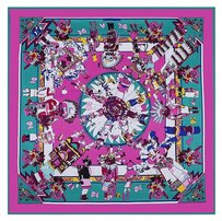 Large Square Silk Scarf Twill - Purple Fuscia Hobbit Fairy Tale Scarf, Digitally Painted w Hand Rolled Hem, 40