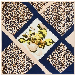 Other Large Square Silk Twill Scarf-100% Twill Silk Royal Navy Blue and Beige Leopard Print Diamond Pattern Geometric Print 40