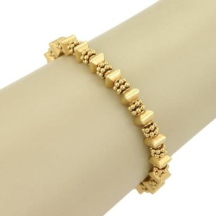 Laura Gibson 22k Gold Fractal Faceted Beaded Bracelet Toggle Clasp