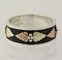 Other Leaf Ring - Tri-toned Sterling Silver Yellow Rose Gold 10k 925 7.75