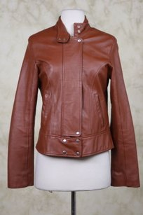 Max Womens Leather Brown Jacket