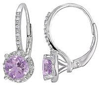 Other Sterling Silver Diamond And 1 25 Ct Tgw Amethyst Leverback Earrings Gh I3