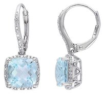 Other 8.688 Ct Tw Diamond And Blue Topaz - Sky Leverback Earrings Silver Gh I3