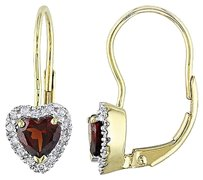 Other 10k Yellow Gold Citrine 17 Ct Diamond Heart Leverback Stud Earrings G-h I2-3