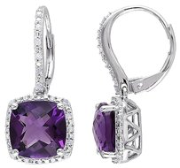 Other 6.188 Ct Tw Diamond And Amethyst-africa Leverback Earrings Silver Gh I2i3