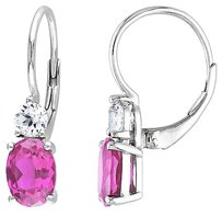 4 58 Ct Tgw Pink And White Sapphire Leverback Earrings Silver