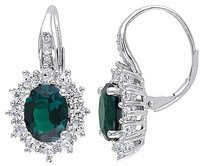 Sterling Silver 5.4 Ct Tw Diamond Emerald White Sapphire Leverback Earrings