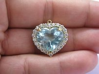 Levian 18kt Aquamarine Diamond Pendant Yellow Gold 13.32ct
