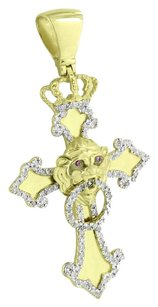 Lion Face Cross Pendant With Crown 10k Gold Diamonds Amethyst Eyes Solid Back