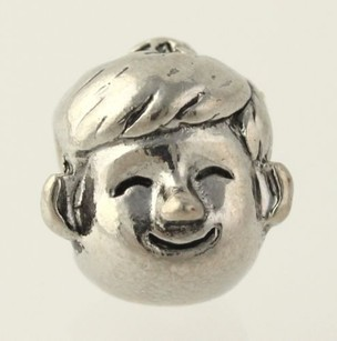 Little Boy Face Charm - Silver Toned Womens Fashion Estate Generic Child