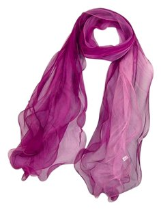 Other Long 100% Silk Scarf Georgette Purple Pink Theme 73
