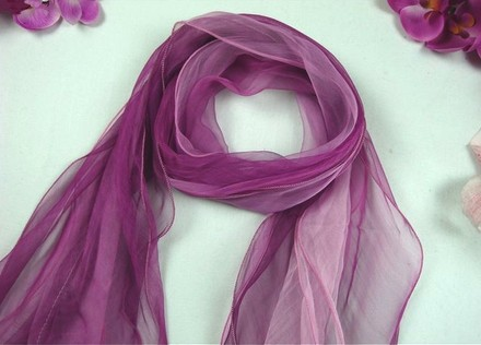 "Other Long 100% Silk Scarf Georgette Purple Pink Theme 73""X14"" (185cm X 35cm), three layer"