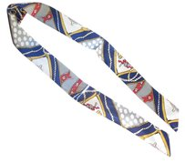 Other LOT of 2 Blue Silk Twilly Scarf Rope Belt Circle Geometric Print