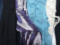 Other Lot Of Purple Blue Black Ivory Ruffle Frilly Crochet Neck Scarves Os B2877
