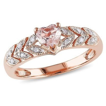 Other 10k Rose Gold Diamond Accent Heart Morganite Pink Ring 0.56 Ct Cttw G-h I2-i3