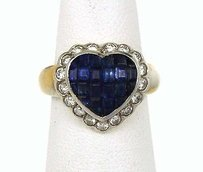 Lovely 18k Yellow White Gold 2.1ctw Diamond Sapphire Heart Cocktail Ring